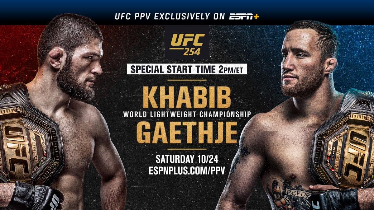 🚨 Special Start Time 🚨  Saturday, #UFC254 live from #UFCFightIsland on Yas Island, Abu Dhabi exclusively on ESPN+  Early Prelims | 11a ET | ESPN+  Prelims | Noon ET ESPN2, ESPN Deportes (Spanish), ESPN+ (English/Spanish)  Main Card | 2p ET | ESPN+ PPV  https://t.co/KdWbBpq7GI https://t.co/6c1xjx0a3d