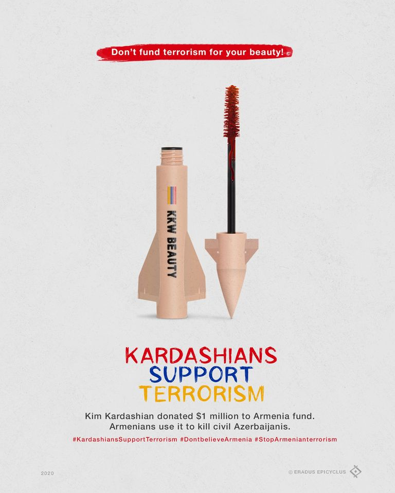 Every #KKWBeauty product that you buy is supporting terroristic, separatist state so called #Artsakh.   #HappyBirthdayTerrorist  #KardashiansSupportTerrorism #HappyBirthdayKimKardashian https://t.co/igt55V6Ne0