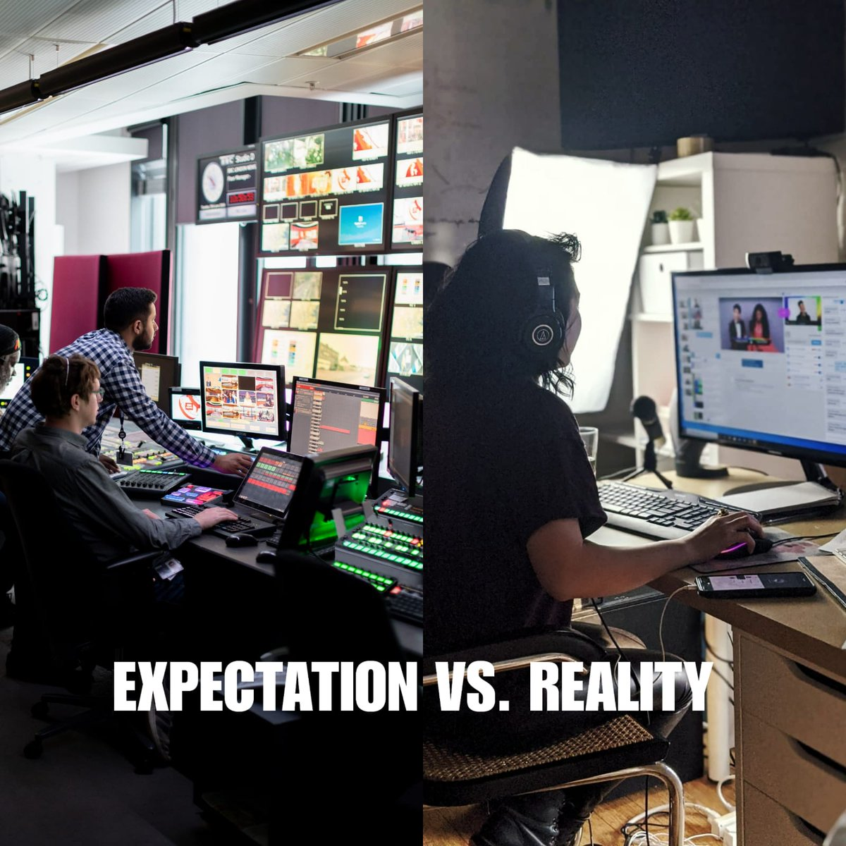What people think producing #live shows with Stage TEN is like, vs. how easy it actually is (as easy 1, 2, and 3)  1. Invite Guests 2. Create Scene 3. Go LIVE  #Livestream #Production #livestreaming