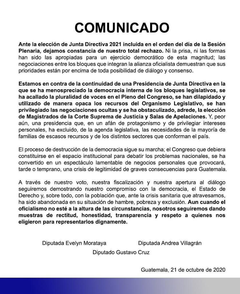 test Twitter Media - Tres diputados del bloque BIEN emiten un comunicado en el que rechazan la reelección de Allan Rodríguez como presidente del Congreso. https://t.co/qUyjnUcee7