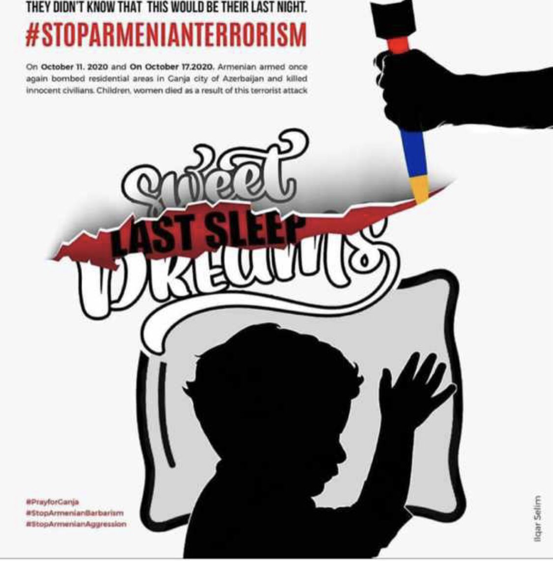 Everyone who supports the @ArmeniaFund has their hands in #Azerbaijan children's blood. YOUR money buys SCUD missiles to attack civilians in #Ganja. #KimKardashian you are an accomplice in the murder.  #StopArmenianAggression  #ArmeniaKillsCivilians   #KarabakhisAzerbaijan https://t.co/9a8YGBJI7W