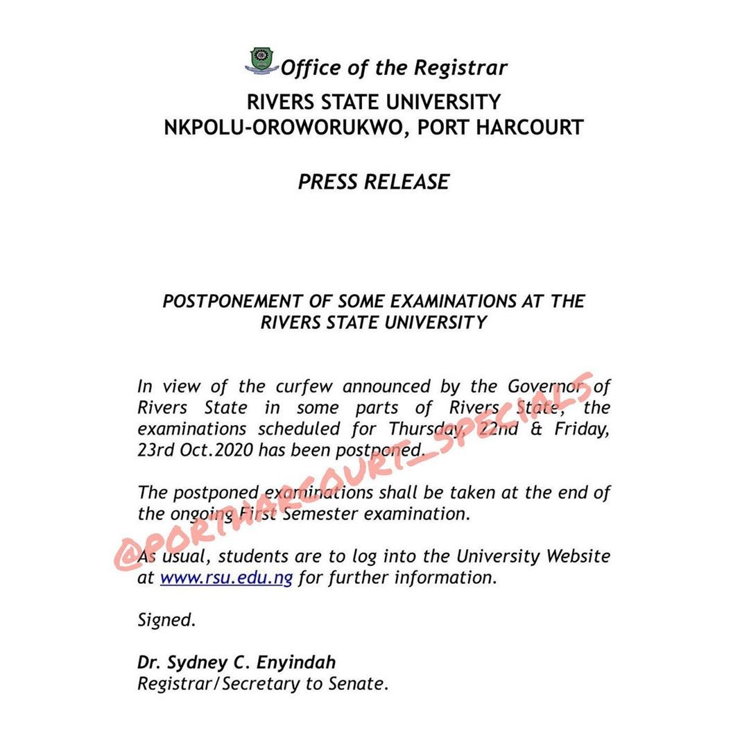 The Rivers State University has suspended its exams till further notice. _ #portharcourtspecials https://t.co/MlyEX8AzFF