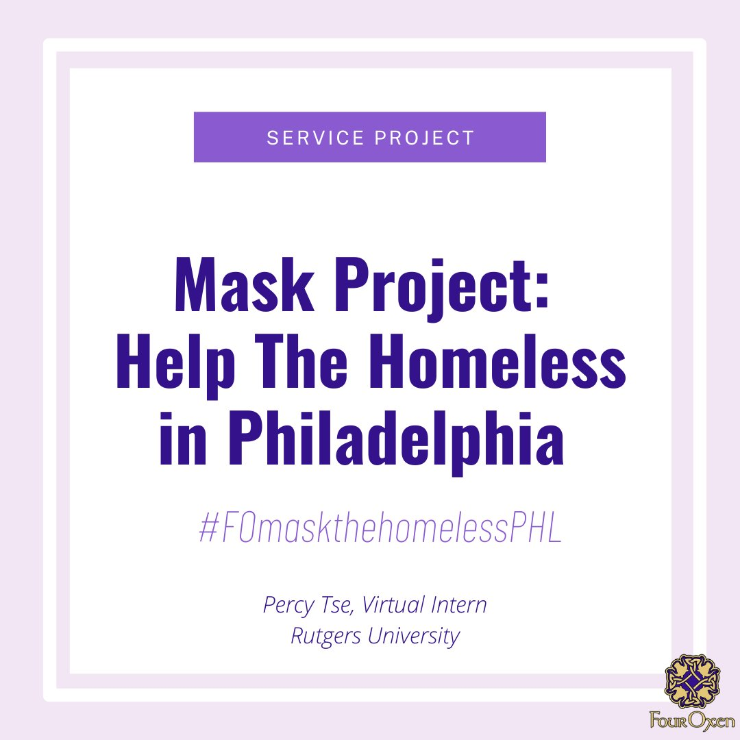 Mask Project: Helping the Homeless in Philadelphia #FOmaskthehomelessPHL  #fouroxen #virtualinternship #serviceproject  #Rutgers #rallytheherd #covid #masks #homeless #philly https://t.co/xBQ4UJOmE3