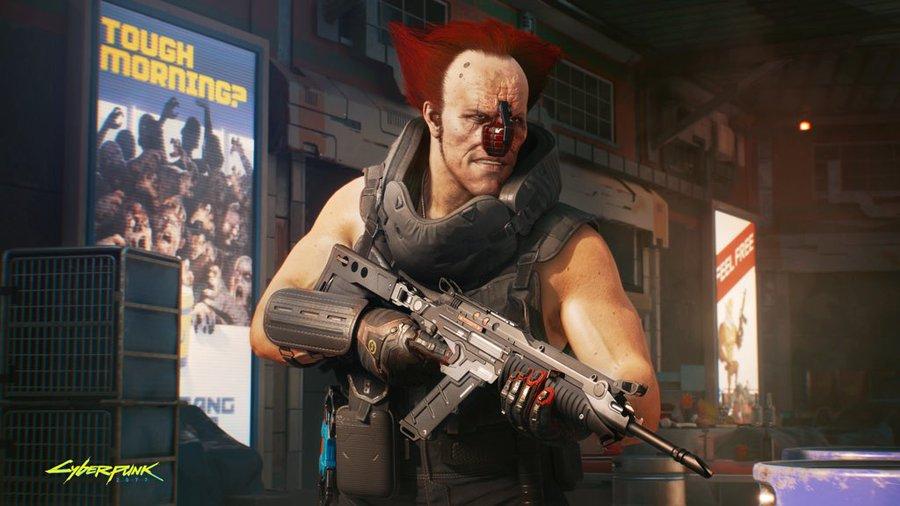 Primeira imagem do Ozob em Cyberpunk 2077 mostra seu tradicional cabelo vermelho e sua granada no lugar do nariz.