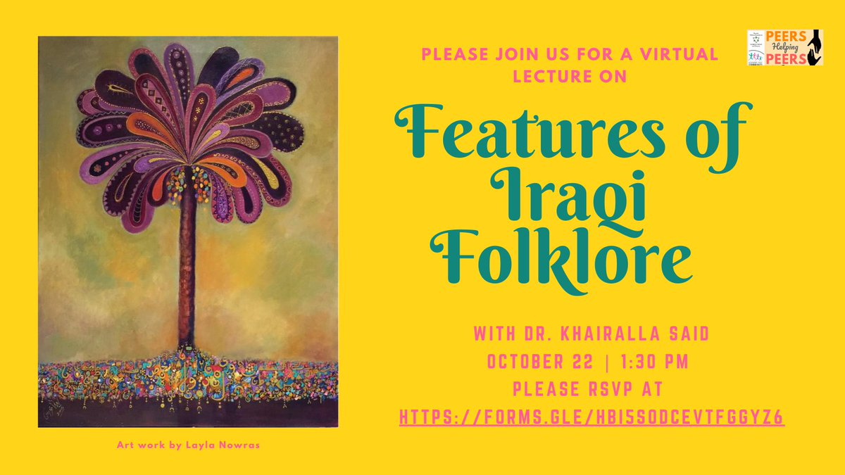 Tomorrow! #Thursday Join us for a talk on the features of #Iraqi #folklore https://t.co/DZMQSQuJFt https://t.co/ZfSzrlDjzI