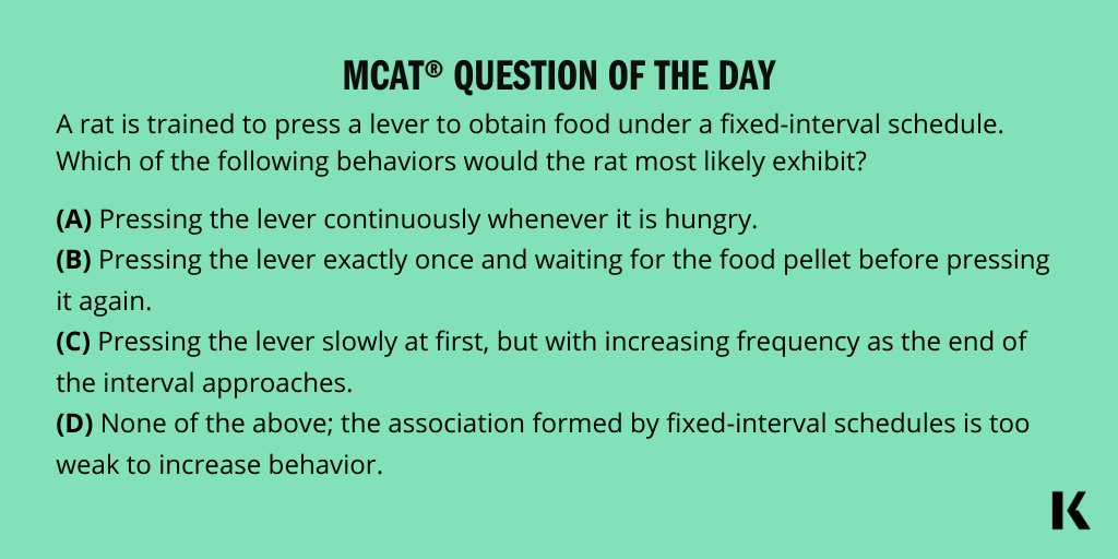 Coming in hot today with your MCAT Question of the Day. Share a study tip and tag a friend! Come back at 4pm ET for the answer!  #MCAT #MCATpractice #FuturePhysician #FutureDoctor #MCATQuestionoftheDay #KaplanMCAT https://t.co/VlCKNo2viS