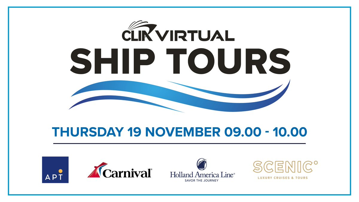 On November 19th, CLIA Virtual Ship Tours will be joined by @APTouring, @CarnivalCruise, @HALcruises and @Scenic_UK 🛳    To register, visit https://t.co/KgXdcPLCUu https://t.co/xlBlwqdymt