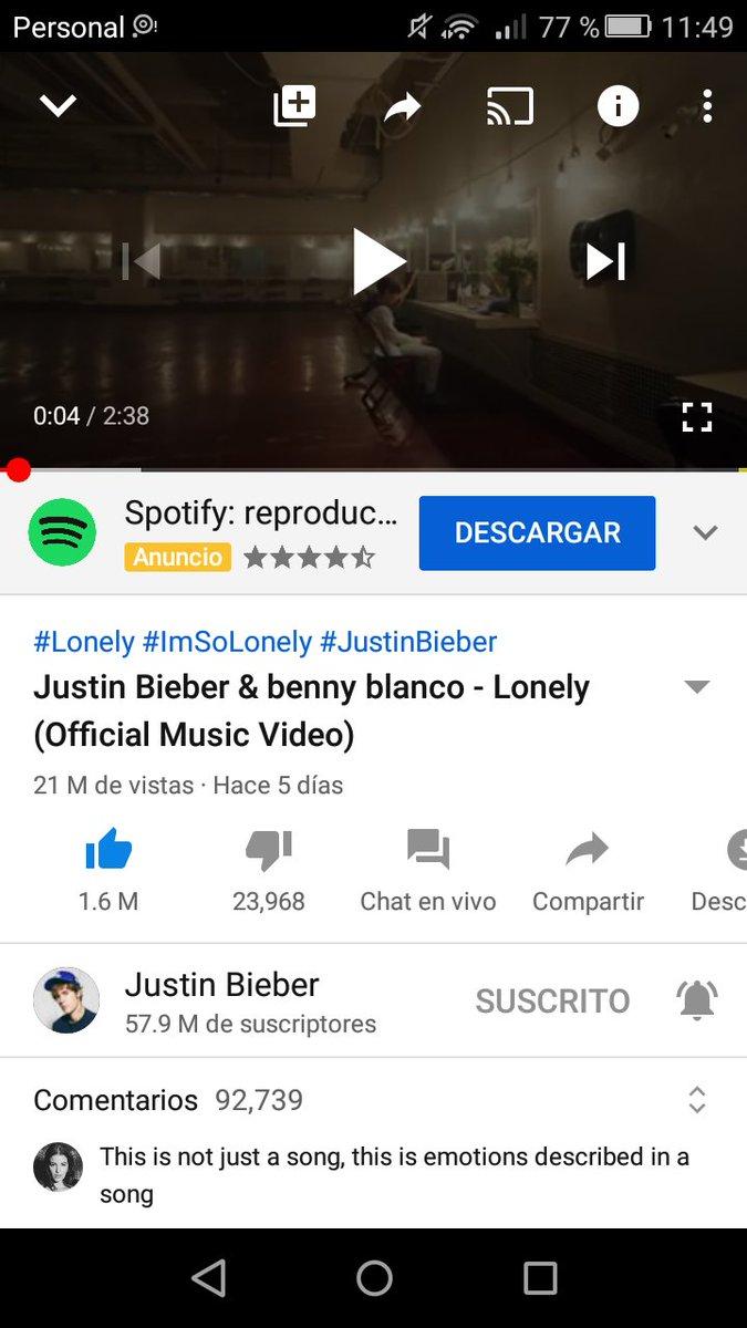21 Milliones de reproduciones en youtube #Lonely #LonelyVideo @justinbieber @ItsBennyBlanco 💜💜💜💜👏👏👏👏 vamos beliebers , vamos juntas podemos https://t.co/kD4GPfSNAR