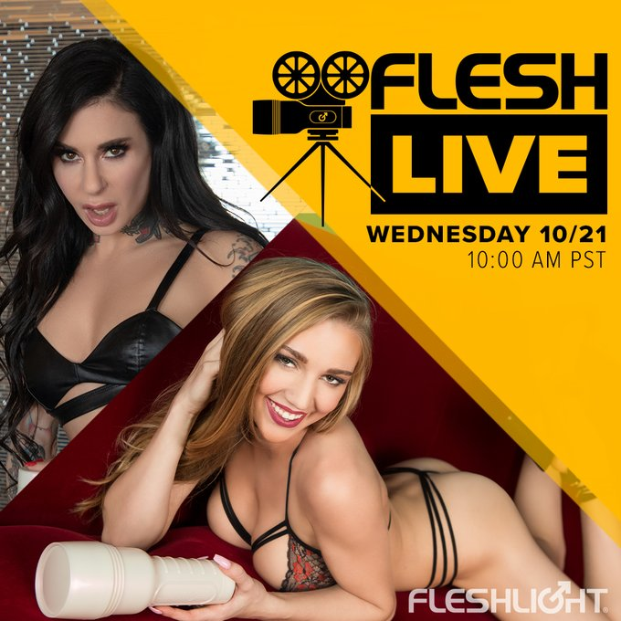 Quarantine and chill on today's Fleshlive with brilliant host and Fleshlight Girl, the iconic @JoannaAngel