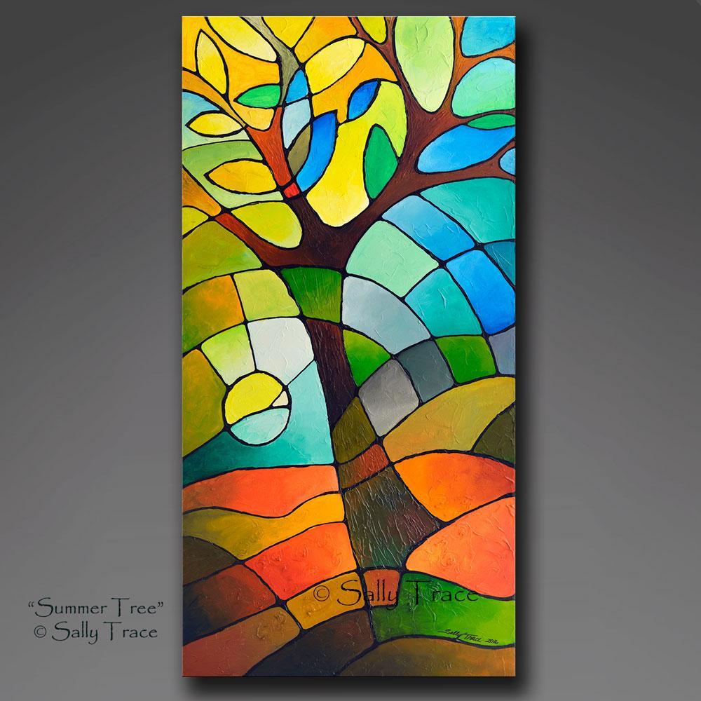 """Summer Tree"", Geometric Textured Original Abstract Tree Painting Commission by Sally Trace https://t.co/suZevTuBQh #modernart #originalartwork #gicleeprint #moderninteriors #contemporaryart #Shopify #abstractart #expressionism #artforsale #sallytrace https://t.co/TxI6Xe4t3P"