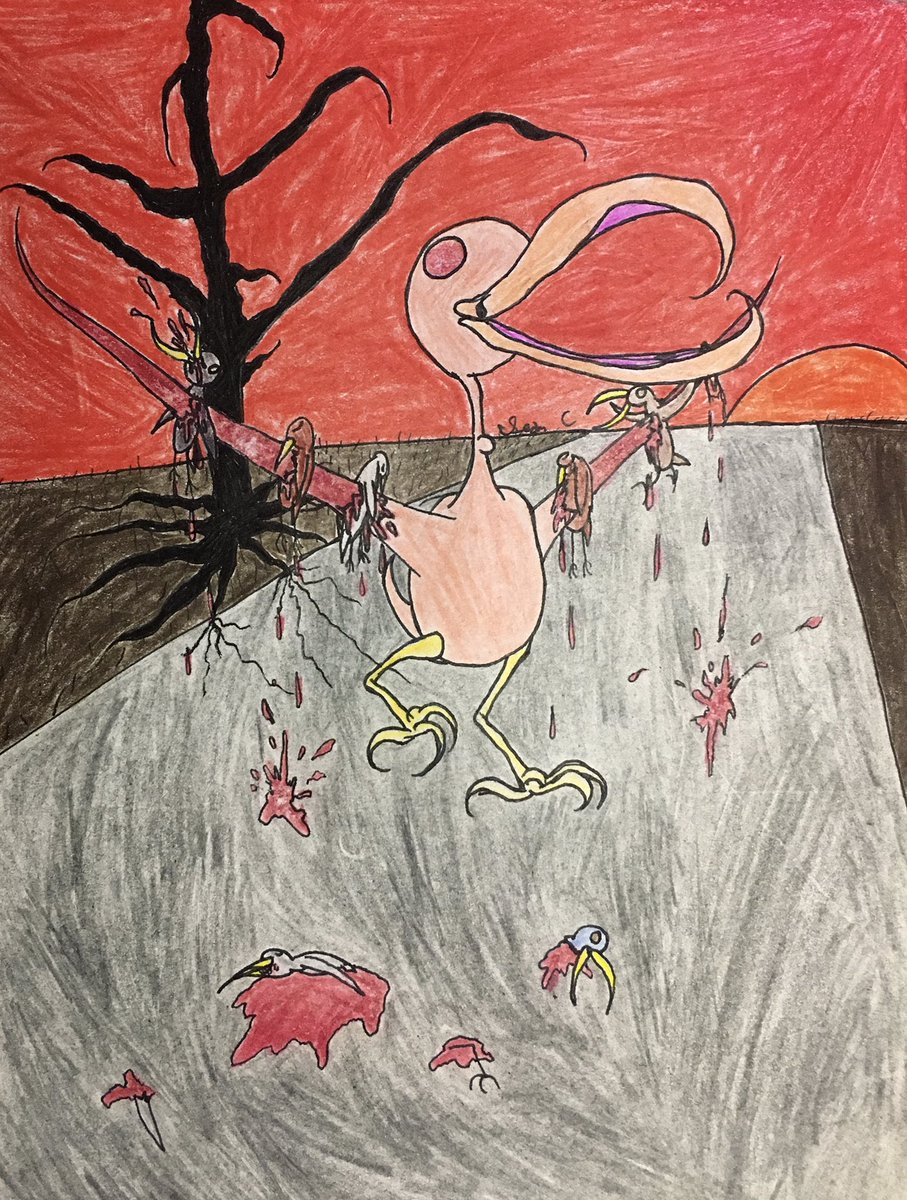 """Dominant Species"", my newest piece. 😈  #artwork #sketch #ink #coloredpencil #psychedelicart #trippyart #horrorart #goryart #disturbingart #darkart #scaryart #colorfulart #insomnia #surrealart #abstractart #nightmarefuel #dreamartwork #dreamlike #sadartwork #mrcrowleysartwork https://t.co/35IZ9LFu07"
