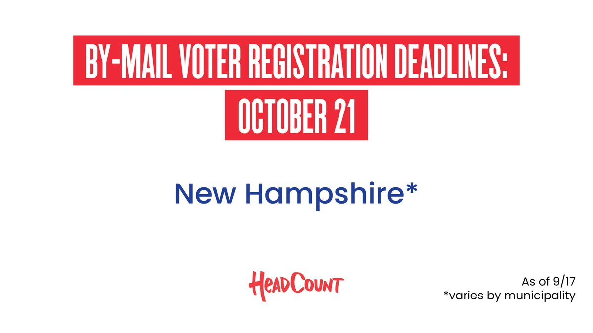 It's voter registration deadline day in #NewHampshire. Get ready and registered to vote at https://t.co/UZn3ZeGFFJ. https://t.co/52zDtRw88I