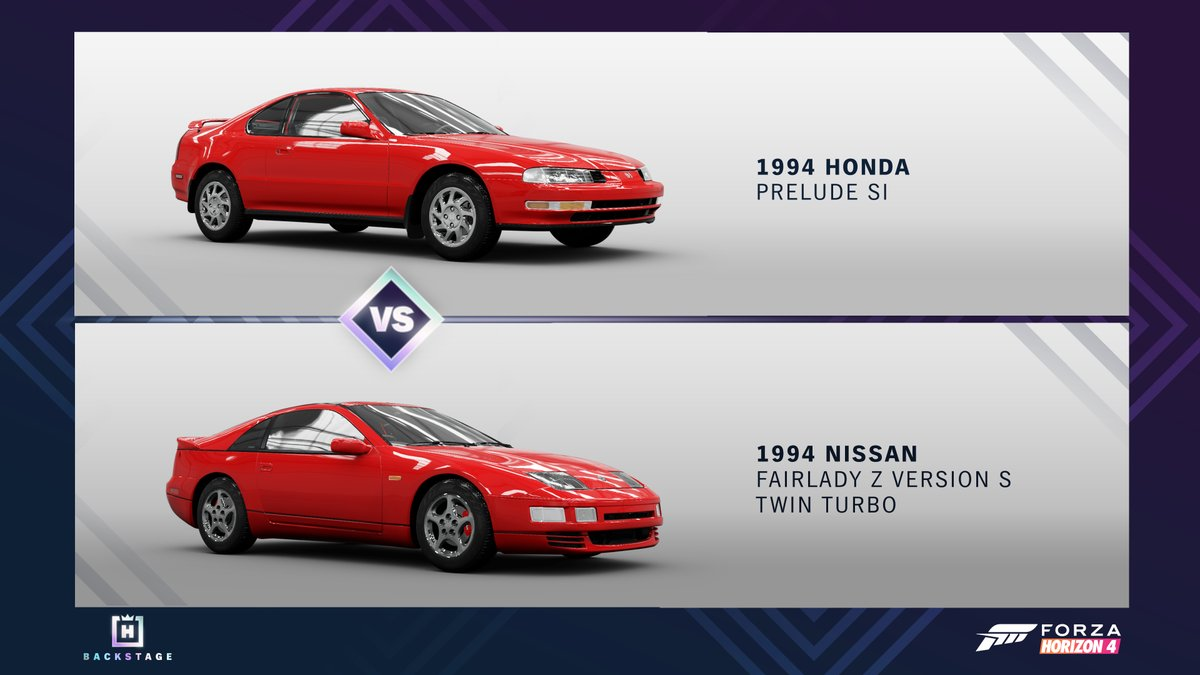 Honda Prelude vs. Nissan Fairlady. Who will return to the Horizon Backstage? Only you can decide! Polls are open now! https://t.co/arjV8RtAjT
