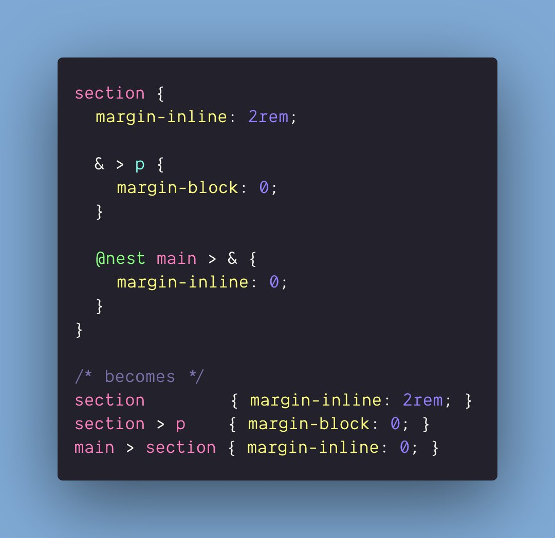 Seen the native CSS nesting draft `@nest`!? Heres an example using draft syntax, and its kinda like a parent selector: ```#css section { @nest main > & { margin-inline: 0; } } 👇 main > section { margin-inline: 0; } ``` learn more 👉 drafts.csswg.org/css-nesting-1/