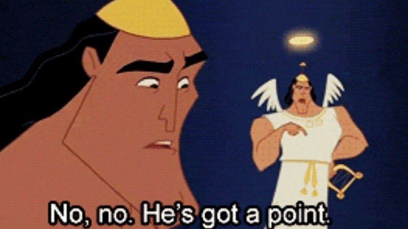 """TheOdd1sOut en Twitter: """"Kronk shoulder angel saying 'no no, he's got a  point' is NOT funny, stop putting it on memes!"""""""