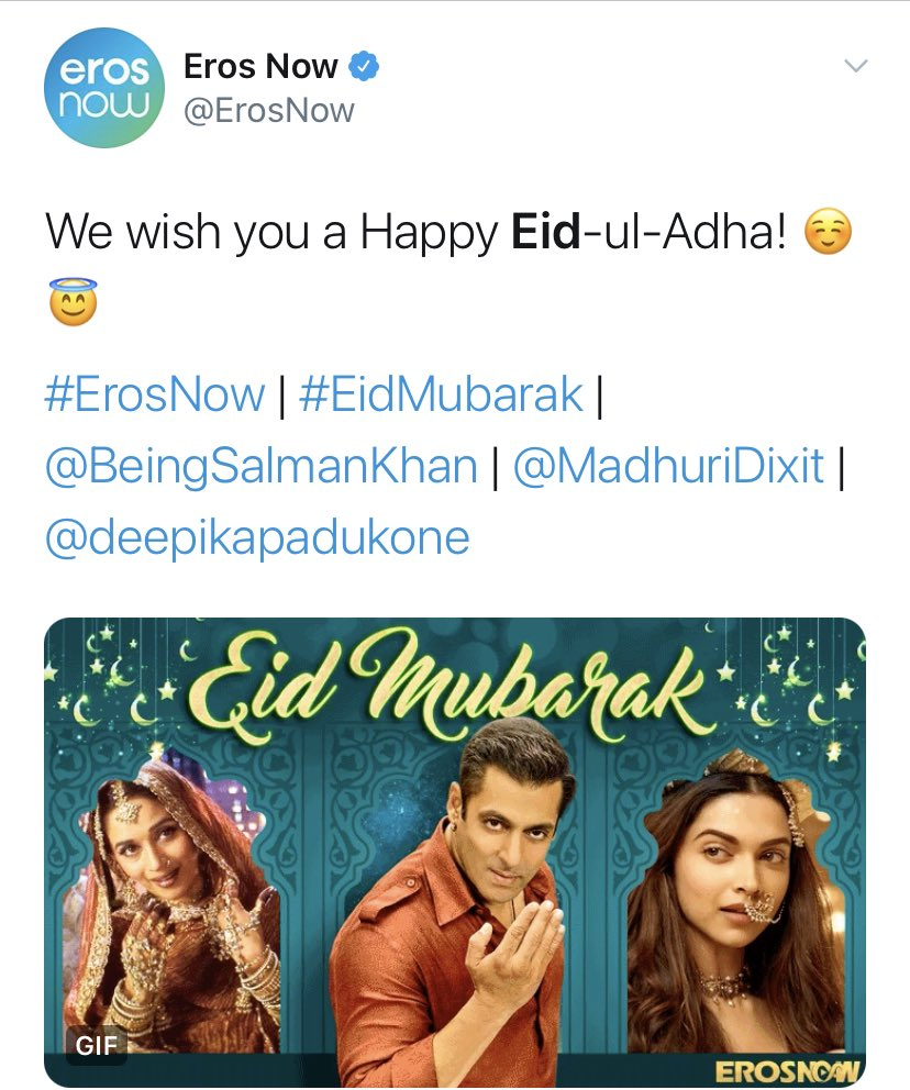 .@ErosNow wishing Eid vs Wishing Navratri   🙏🏻 https://t.co/O8QRrM1Osx