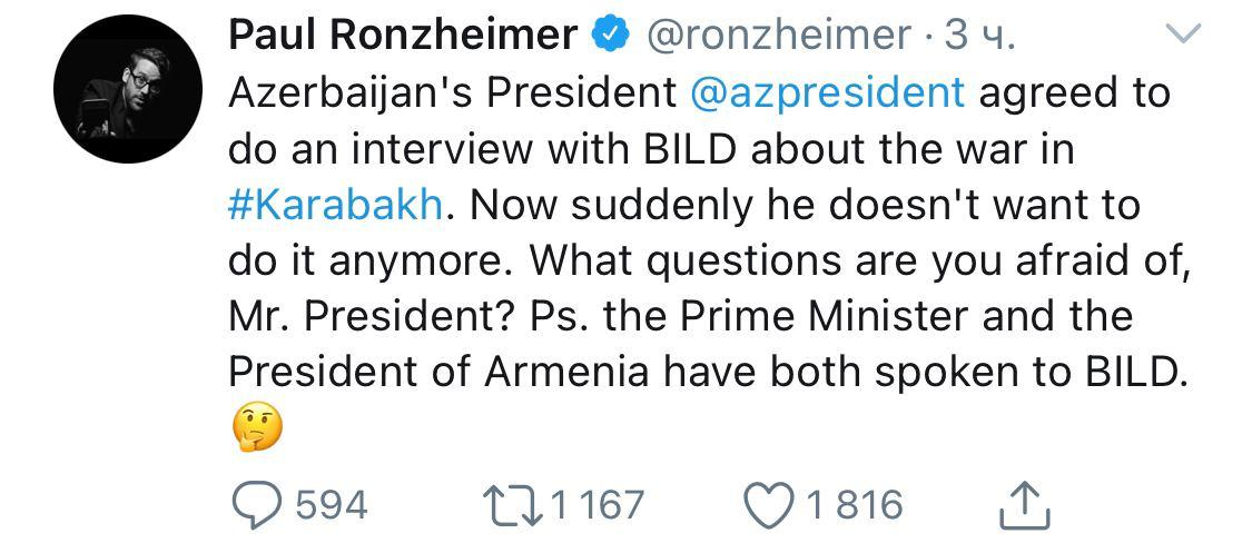 @ronzheimer please be informed that no one has given any consent to give interview to BILD. Your statement on behalf of Azerbaijani Gov is unprofessional. My President @presidentaz prefers to give interview to professional media not 'yellow media outlets' https://t.co/Fyahqf6F3c