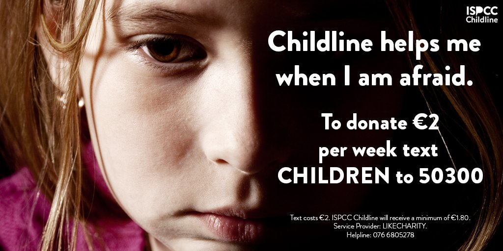 Childline relies on the public for 90% of our funding. Your support is vital to keep Childline listening 24/7.  To donate €2 per week text CHILDREN to 50300  Texts cost €2. ISPCC Childline will receive a minimum of €1.80. Service Provider: LIKECHARITY. Helpline: 076 6805278 https://t.co/u49khcDTuQ
