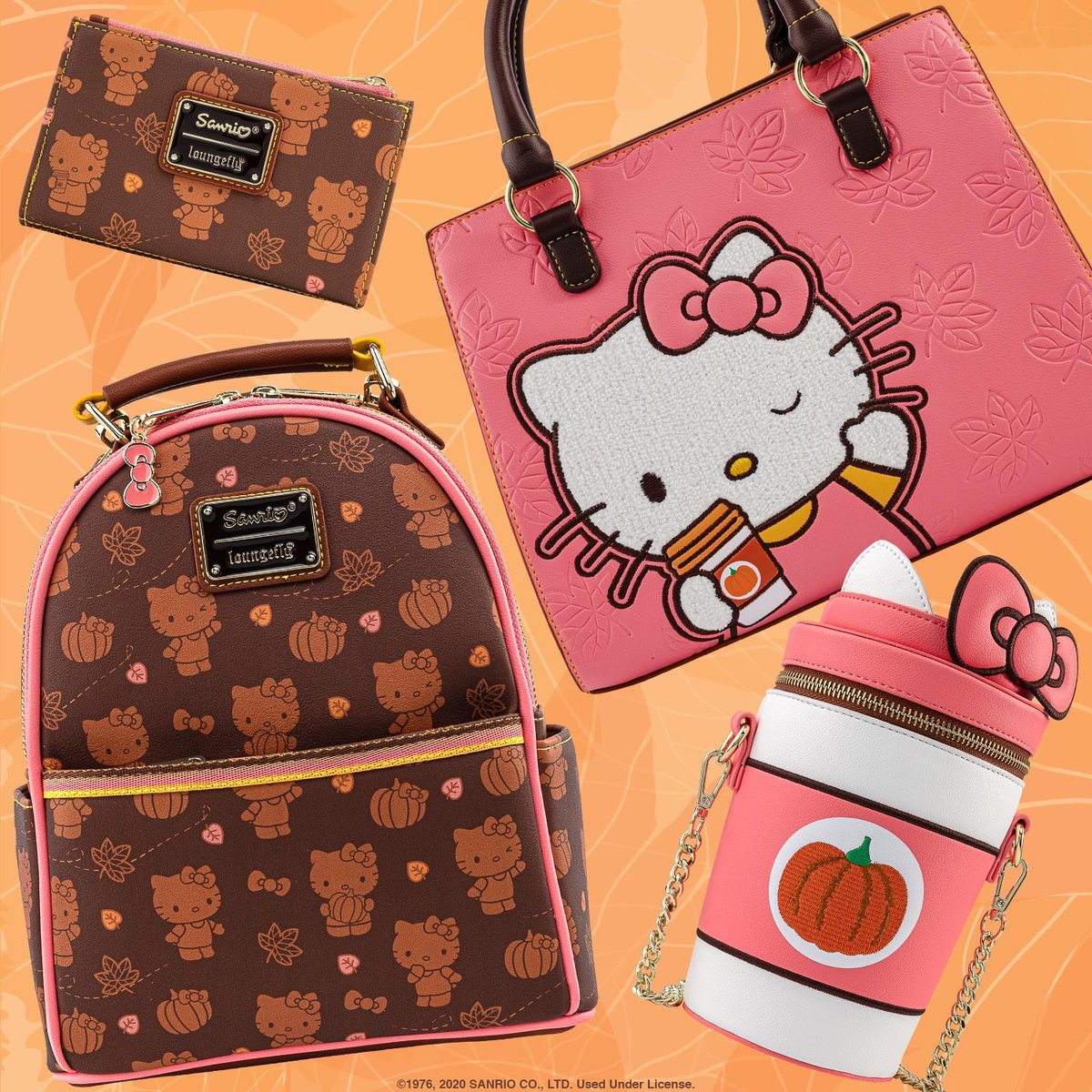 Say hello to whole latte of cuteness!!! Our@hellokittyPumpkin Spice collection is now live on bit.ly/3oe2xXK! Shop today while supplies last on this adorable collection! 🍂☕️🍂 @sanrio#Loungefly#Sanrio#HelloKitty