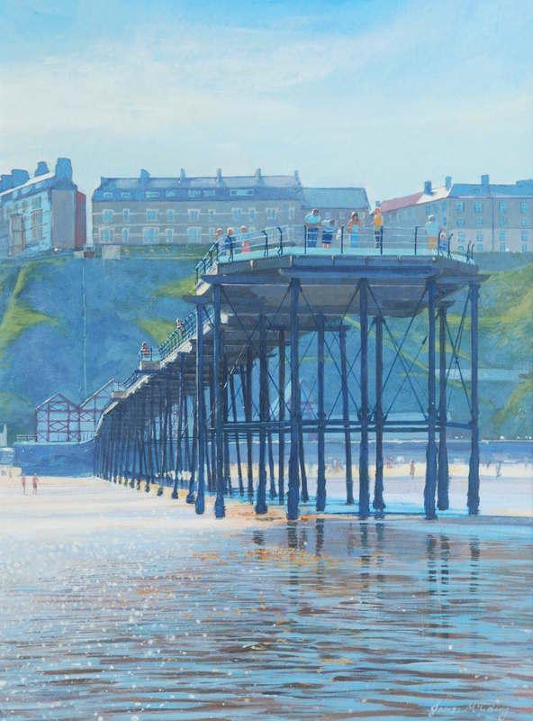 'Saltburn Pier'  #Painting Signed Limited Edition giclée print on sale at https://t.co/g6dX81uvYc #originalart #landscapepainting #acrylicpainting #beach #pier https://t.co/RyOxd4KVhV
