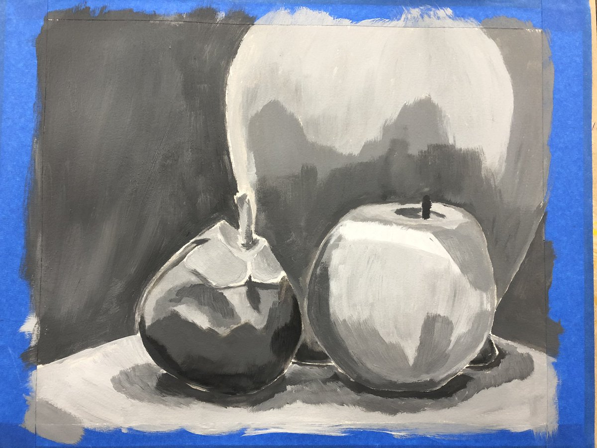 Applying first layer of paint with acrylics and establishing my values.  #acrylicpainting #acrylic #stilllife https://t.co/pnKqaHLtVb