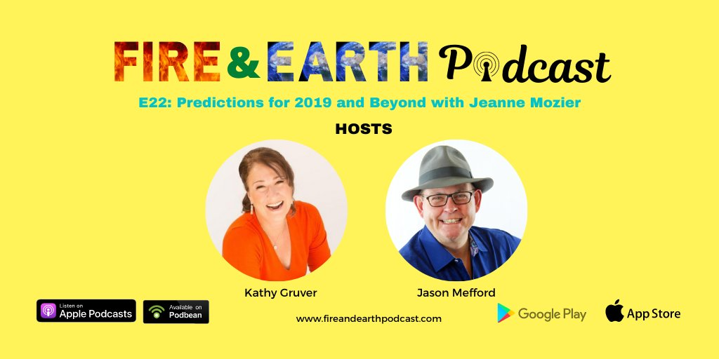 E22: Predictions for 2019 and Beyond with Jeanne Mozier https://t.co/q0PSnwdj3W  #EP22 #fireandearthpodcast #podcast #speakers #podcasters #Podbean #Episodes #kathygruver #jasonmefford #podcastinglife #podcasting #astrology #prepare #2019predictions #predictions #prevention https://t.co/TY9A3eZycE