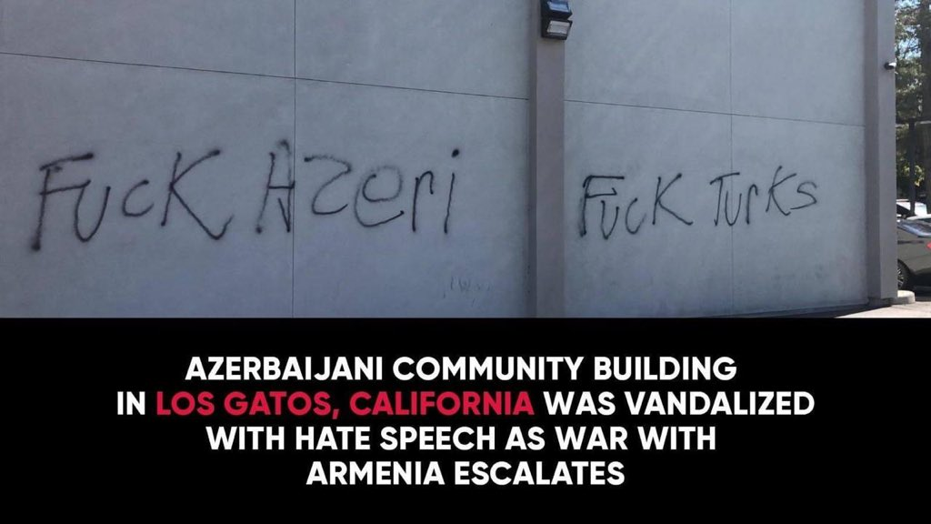 #Armenian diaspora vandalized #Azerbaijan/i cultural center in California, USA. Contributing to #turkophobia, #Armenia/ns threaten #violence against 🇦🇿, call for property damage and constant harassment #StopArmenianAggression #StopArmenianVandalism https://t.co/vZ3P0ETwqN