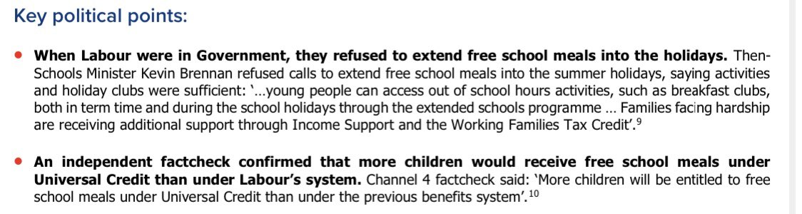 """Leaked memo shows Tory whips have emailed their MPs asking them to make """"suggested interventions"""" in the @marcusrashford free school meals debate... one """"key political point is that Labour didn't offer free school meals during holidays while in govt https://t.co/4sgkCOP3G4"""