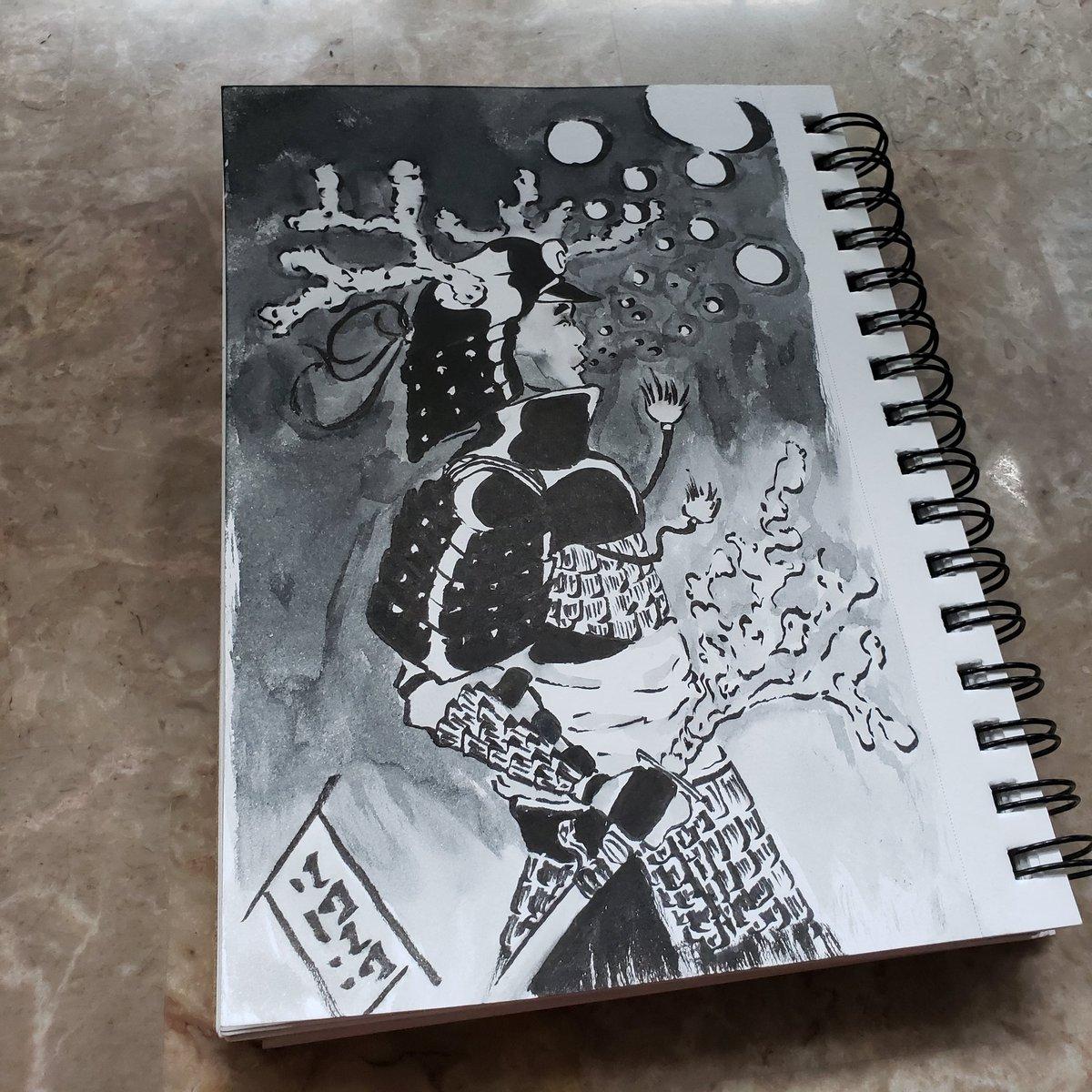 Inktober Day 20 & 14: Coral and Armor. One brush. . . #Inktober #inktober2020 #inktober2020day20 #inktobercoral #ink #drawing #drawingwhileblack #blackartist #illustration #artistontwittter https://t.co/SA9oLl7afl