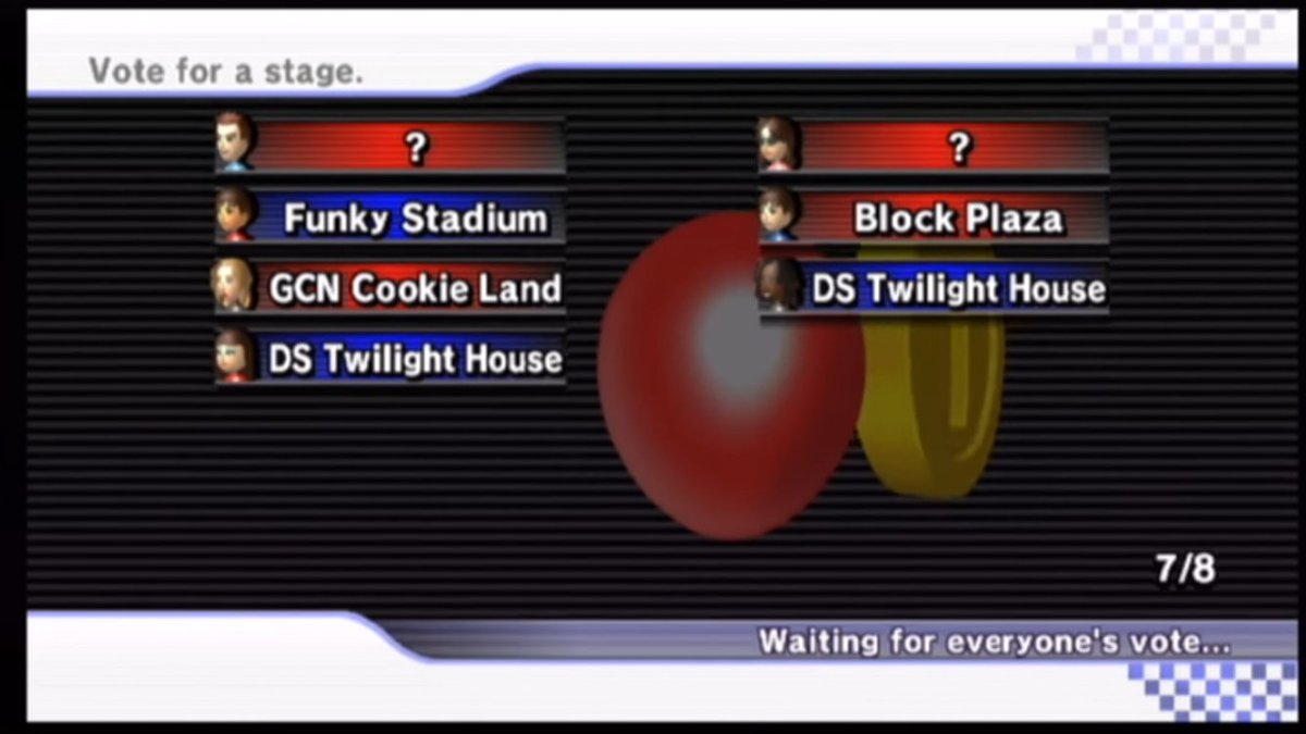 4tp Mario Kart Wii On Twitter Fun Fact There Is A Mistake On The American English Version Of Mario Kart Wii Where In The Screen That Shows After You Vote For A Battle Stage Online The Top Left Text Says Vote For A Stage Instead Of Stage Votes This Error