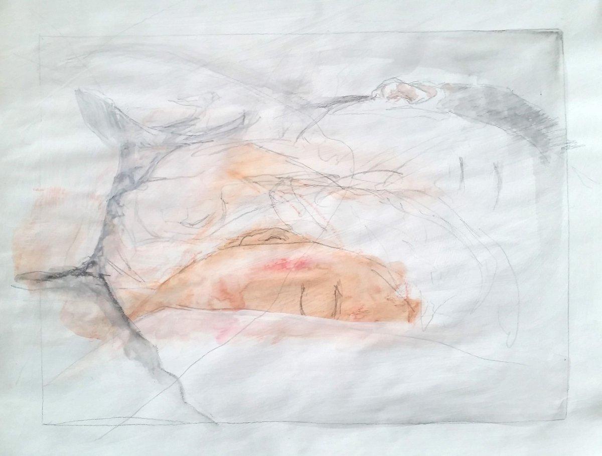 "Watercolor + Graphite on gessoed paper 14""x11""  #sleep #quarantineart #watercolor #figurepainting #figuredrawing #art #painting #contemporaryart #fineart #carandache #croquis #크로키 #그리다 #수채화 #그림 #드로잉 #미술 #스케치 #イラスト #絵 #그림스타그램 #수채화 #자다 #水彩 https://t.co/zX8oTwbwRz"