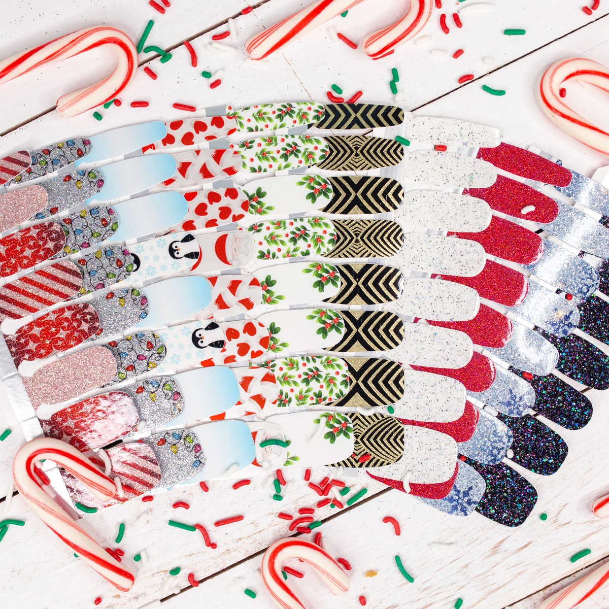 Hello, Holiday ❄️! Meet our newest collection of festive, winter-themed shades and designs. From left to right: Wrap it Up, Holiday De-light, Penguin Party, Just Be-Claus, Berry Merry, Drop the Ball, Glittersweet, Cran-tastic, Ice Ice Maybe, and Holidaze. https://t.co/J8ZxGe07XJ