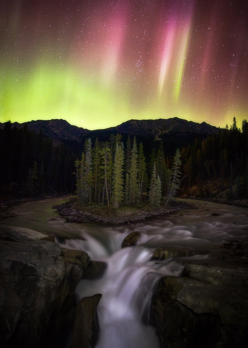 Keep an eye out for Aurora Borealis from Oct 21-25!  Bring your camera, find the best location, and look up into the night sky. ✨  You can find tips for great night sky viewing in @JasperNP ➡ https://t.co/UzIuqAua69  📷 Ludovid Labbé-Doucet  📍 Sunwapta Falls https://t.co/SUiJURPoJq