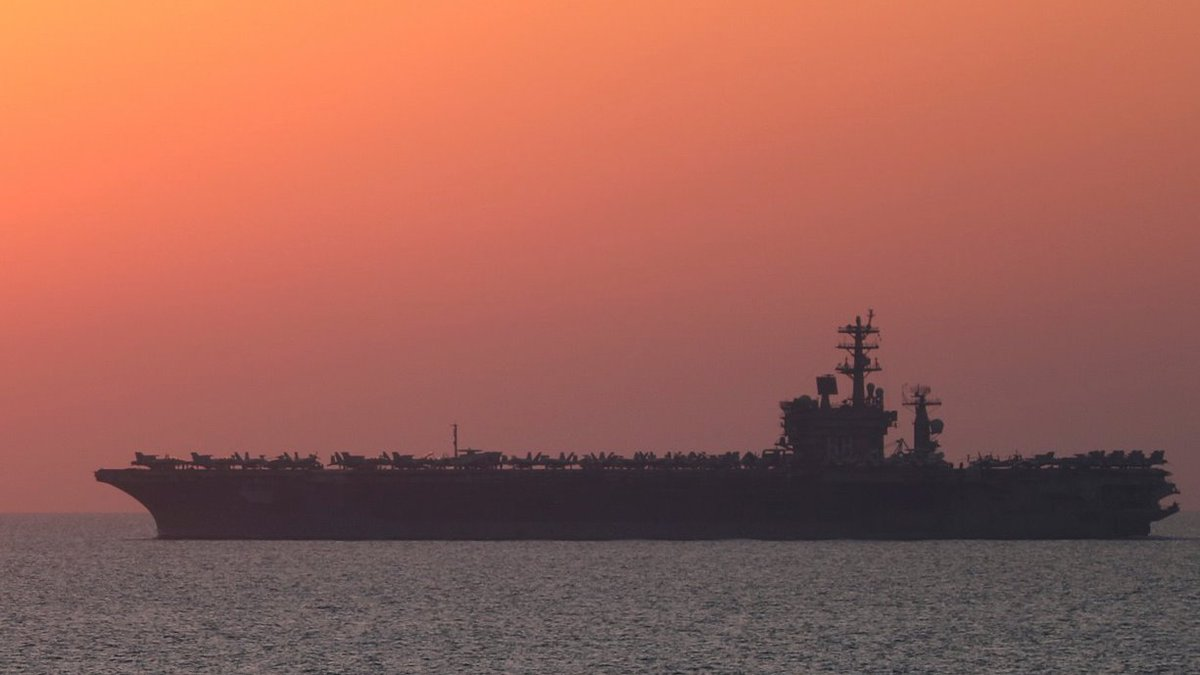 A moment of calm. The aircraft carrier USS Nimitz (CVN 68) sails in the Arabian Gulf as the sunrises. Night or day, or in between, #AmericasAwayTeam remains on watch.