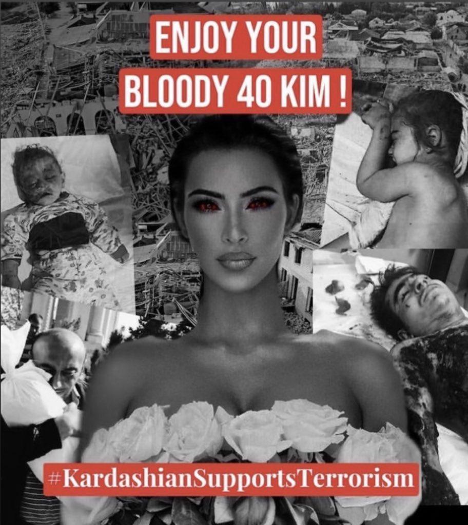 Today is the birthday of terrorist Kim Kardashian, who donated $ 1 million to Armenia to kill civilians in Azerbaijan. #HappyBirthdayTerrorist  #HappyBirthdayKimKardashian  #kimkardashiansupportsterrorism  #StopArmenianOccupation  #StopArmenianTerrorism  #PrayForGanja https://t.co/X3rGgQ1E1n