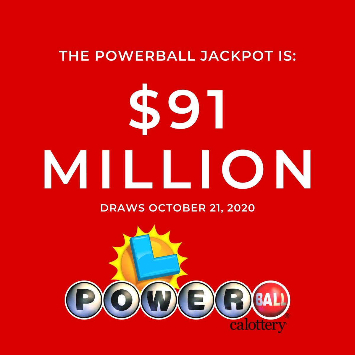 Raise your hand if you already have your ticket for tonight's $91 million #Powerball jackpot. #CALottery #JackpotAlert https://t.co/fmleVRYGOz