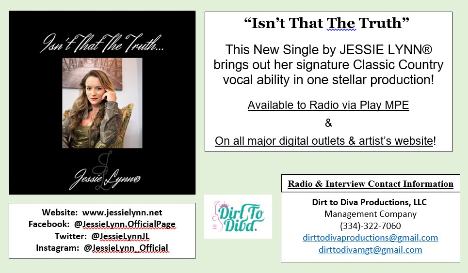 "@JessieLynnJL #NewMusicAlert #NewMusic #NewSingle ""Isn't That the Truth"" Oct. 20-Released to #countryradio #CountryDJs #countrymusic #djs  @PlayMPE @billboard & #internetradio Available on all major #DigitalMarketing #MusicPlatforms  @Spotify @iTunes @amazonmusic @youtubemusic https://t.co/eimeAf4Lez"