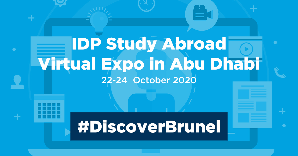 Do you have questions about studying at Brunel? Book your place for the #IDP #StudyAbroad Virtual Expo in #AbuDhabi, and find answers to all your questions about our courses, scholarships, student life and admissions process: bit.ly/34QrjEt. #DiscoverBrunel