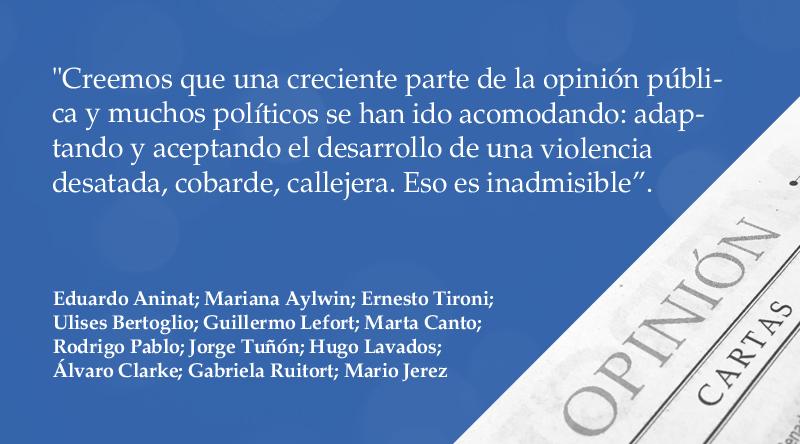 "Carta al Director | ""Acomodarse a la violencia"", por 12 firmantes https://t.co/EyiaKvFekO https://t.co/iDsMU780tu"