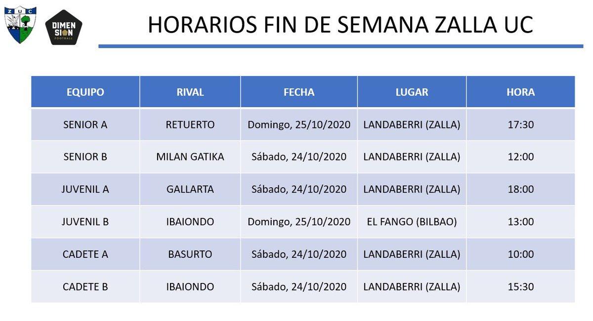 Estos son los partidos de nuestros equipos federados para el próximo fin de semana.⚽️  El Juvenil A (sábado 18:00 h.) y el Senior A (domingo 17:30 h.) comienzan sus respectivas Ligas en Landaberri.💪  Ambos encuentros serán CON PÚBLICO. 👀  Zalla Gu Gara !! 🔵⚪️ https://t.co/U07e8386T2