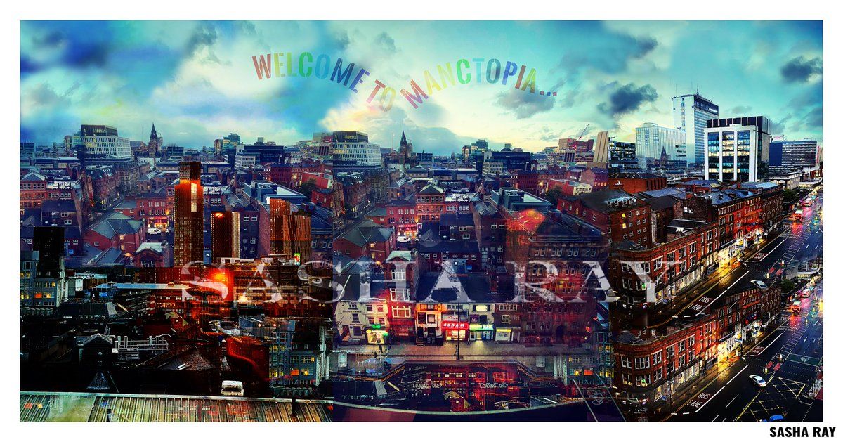 New Art: MANCTOPIA 🌇❤️ Made for Hotel BKLYN and available to buy.  Photomontage of all the beautiful views of our Cottonopolis shot from Brooklyn Heights, 9th floor. Hotel remains open so you can carry on buying art and Christmas presents from me by appointment.  #mcr #skyline https://t.co/MmpzETaZ9N