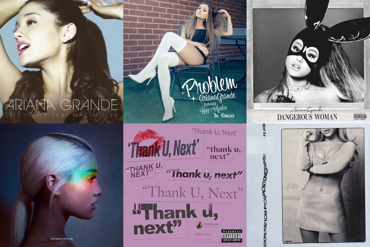 "Ariana Grande Today's tweet - ""Which cover artwork from @ArianaGrande's  lead singles is your favorite? 📸 "" - Trendsmap"