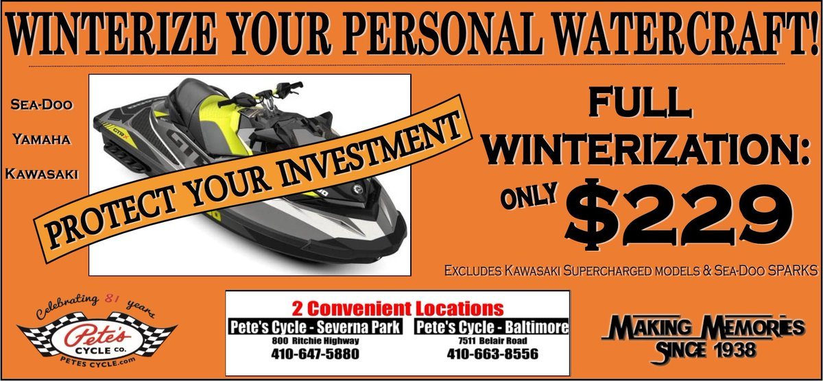 Call us Today to schedule your PWC's Winterization appointment!  ☎️ 410.663.8556 ext. #3  #Winterization #PWC #Yamaha #SeaDoo #Kawasaki #ProtectYourInvestment #CallToday #SevernaPark #Baltimore #PetesCycle https://t.co/uTWAKPNLB0