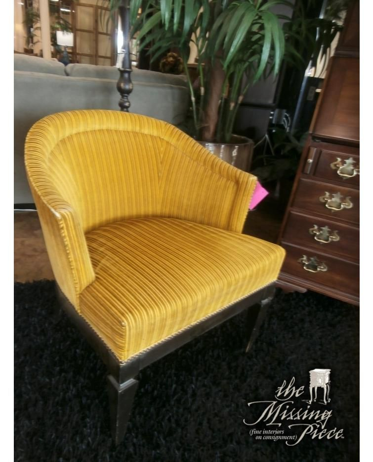 Vintage, barrel chair in gold on gold striped fabric with black legs. Measures 28*29*30. Sorry, just one.   #vintage #barrelchair #themissingpiece #furniture #consignment #tampa #florida #palmharbor #style #shop #insta #instagram #love #need #quality #home https://t.co/6J1KslQwzI https://t.co/KudIQH6JYC