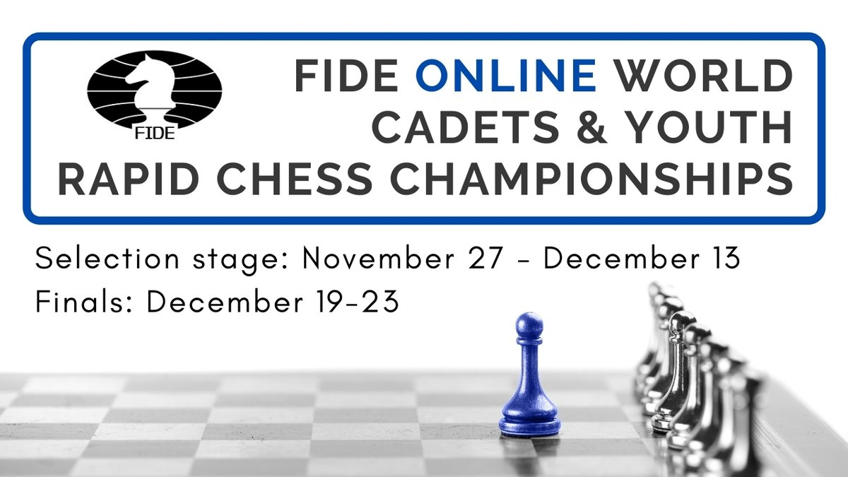 test Twitter Media - We are pleased to announce a new online competition, aimed at the younger members of the #chess community: the FIDE Online World Cadets & Youth Rapid Chess Championships.   5 different age groups will compete in 2 sections: open & girls.   Details: https://t.co/HskQ9Muk7X https://t.co/KyNEuB4Ix5