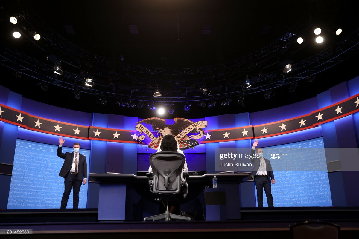 Students participate in a mock debate as workers set up the debate hall inside the Curb Event Center ahead of Thursday's presidential debate at Belmont University in Nashville, Tennessee. @sullyfoto #Election2020 https://t.co/dJLQUpvrJu