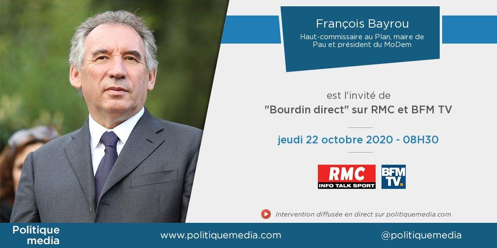 .@bayrou sera, demain jeudi 22 octobre à 08:30, l'invité de