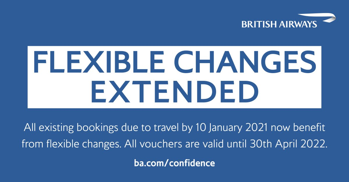 Our flexible change policy has been extended to cover all customers due to travel until 10 January 2021. To find out more about exchanging your booking for a voucher and changing your travel plans due to the ongoing #COVID19 uncertainty, visit https://t.co/OvVGSRdIO4 https://t.co/bT9FtBpPTC