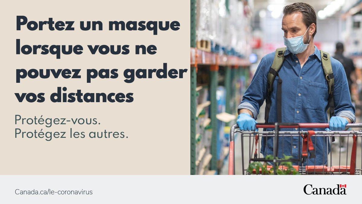 Lorsque la distanciation physique est difficile, le fait de porter un masque non médical, même si vous n'avez pas de symptômes, aide à protéger votre entourage. Pour en savoir plus sur la prévention et les risques de #COVID19 : https://t.co/OdegWJmji0 #COVIDavisé https://t.co/oYy9G8xjj5