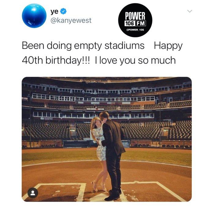 Kanye West wishes his wifey Kim Kardashian a happy 40th birthday!